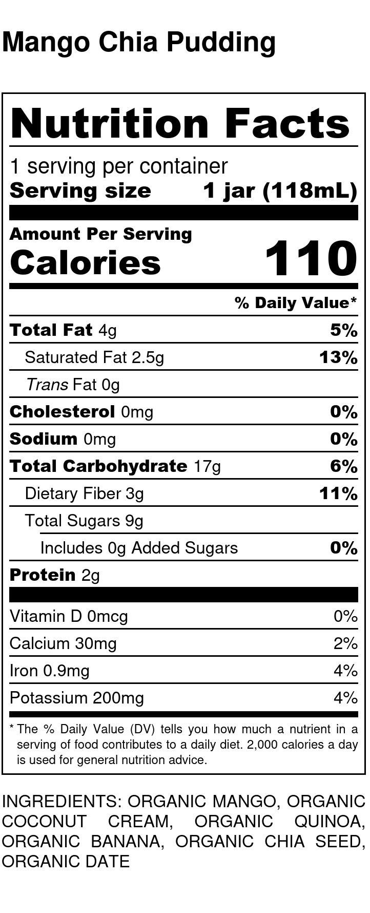 Yumi Mango Chia Pudding nutrition facts