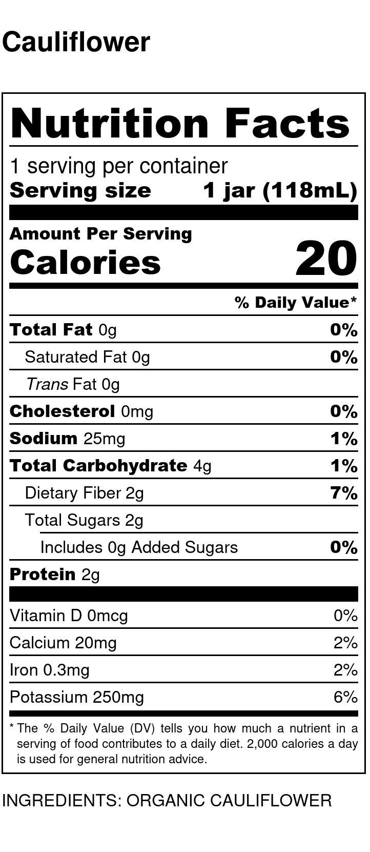 Yumi Cauliflower nutrition facts