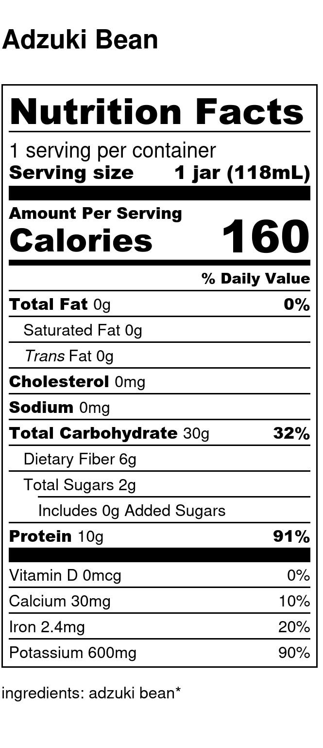 Yumi Adzuki Bean nutrition facts