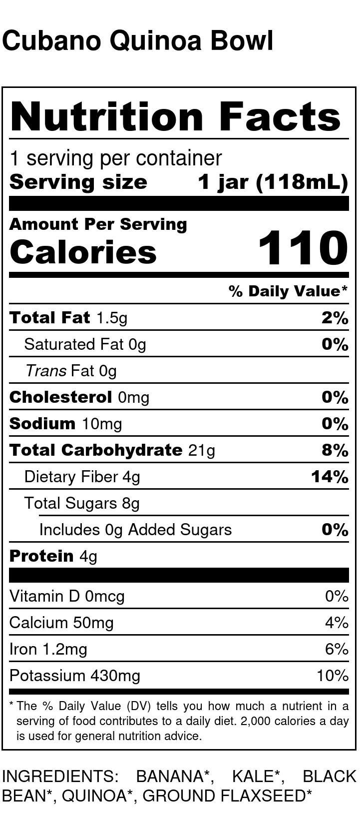 Yumi Cubano Quinoa Bowl nutrition facts