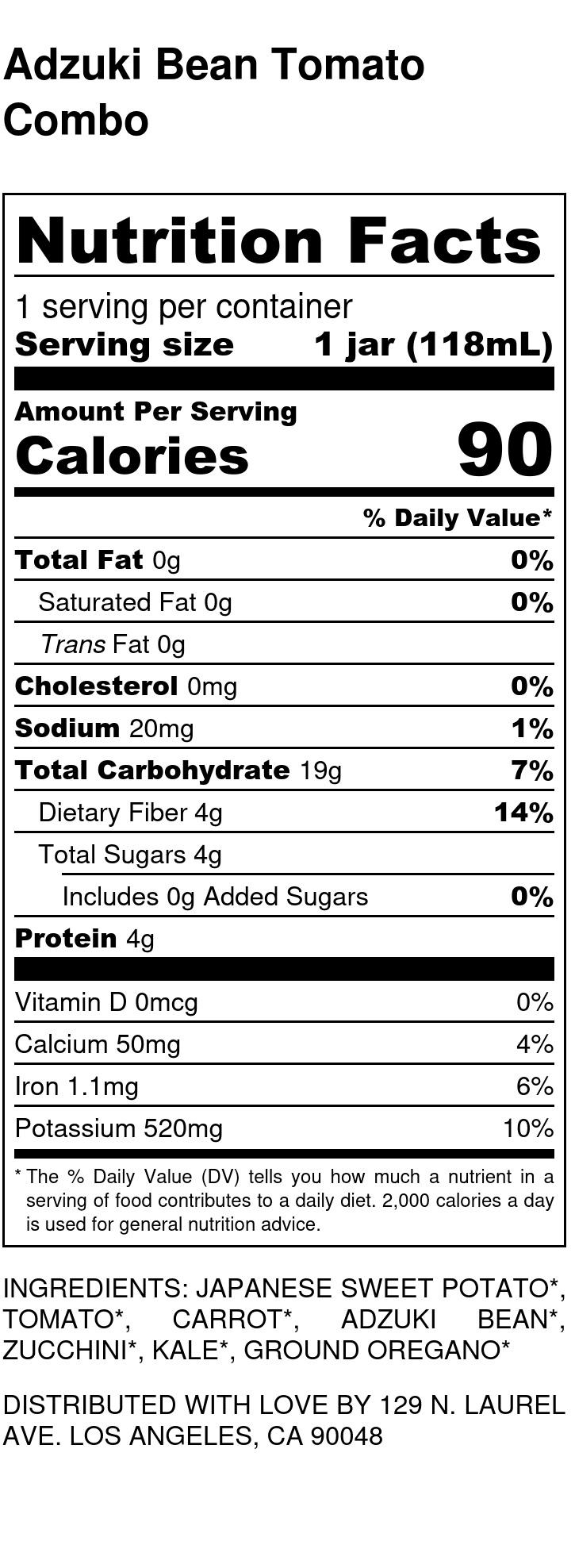 Yumi Adzuki Bean Tomato Combo nutrition facts