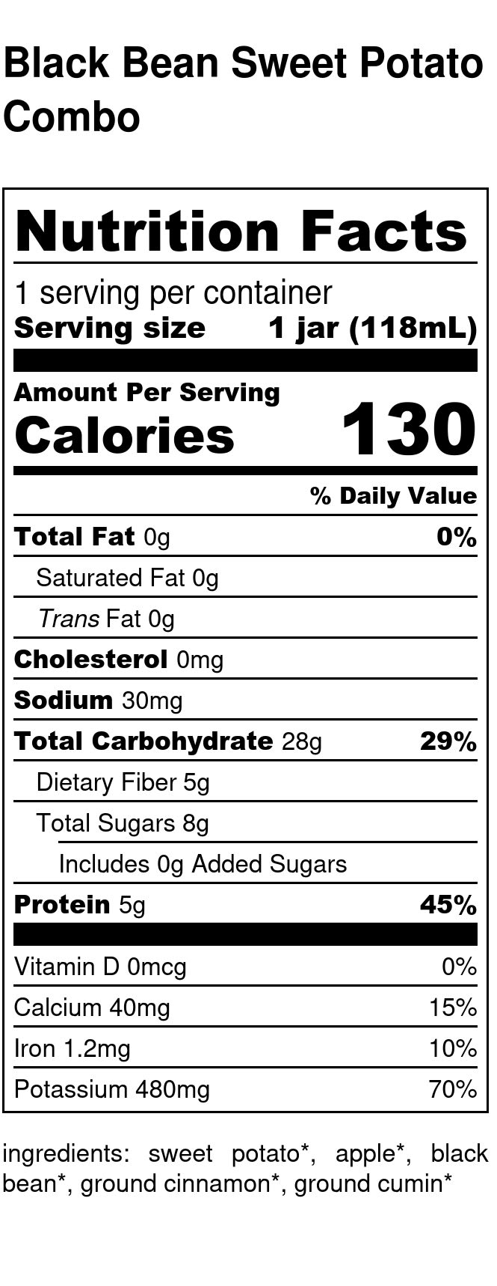 Yumi Black Bean Sweet Potato Combo nutrition facts