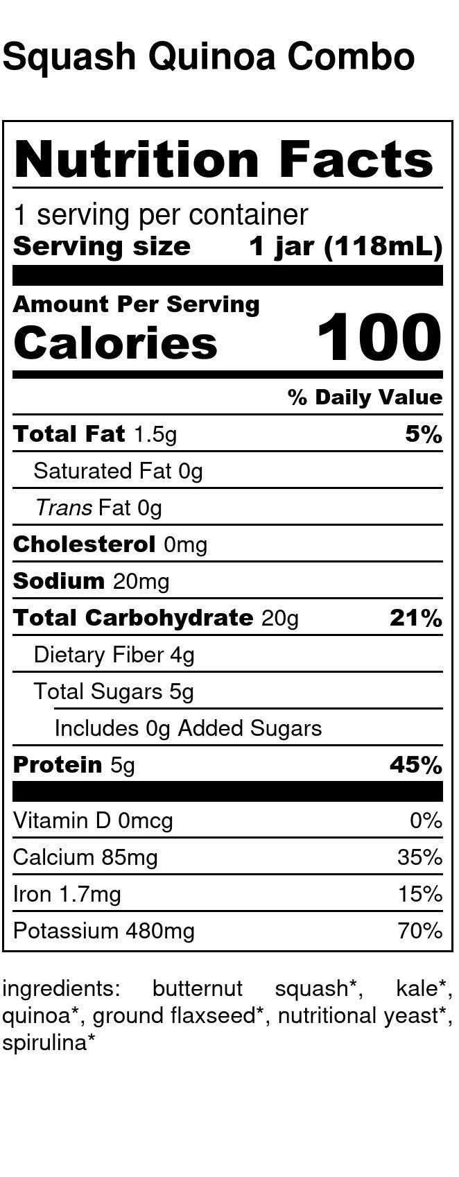 Yumi Squash Quinoa Combo nutrition facts