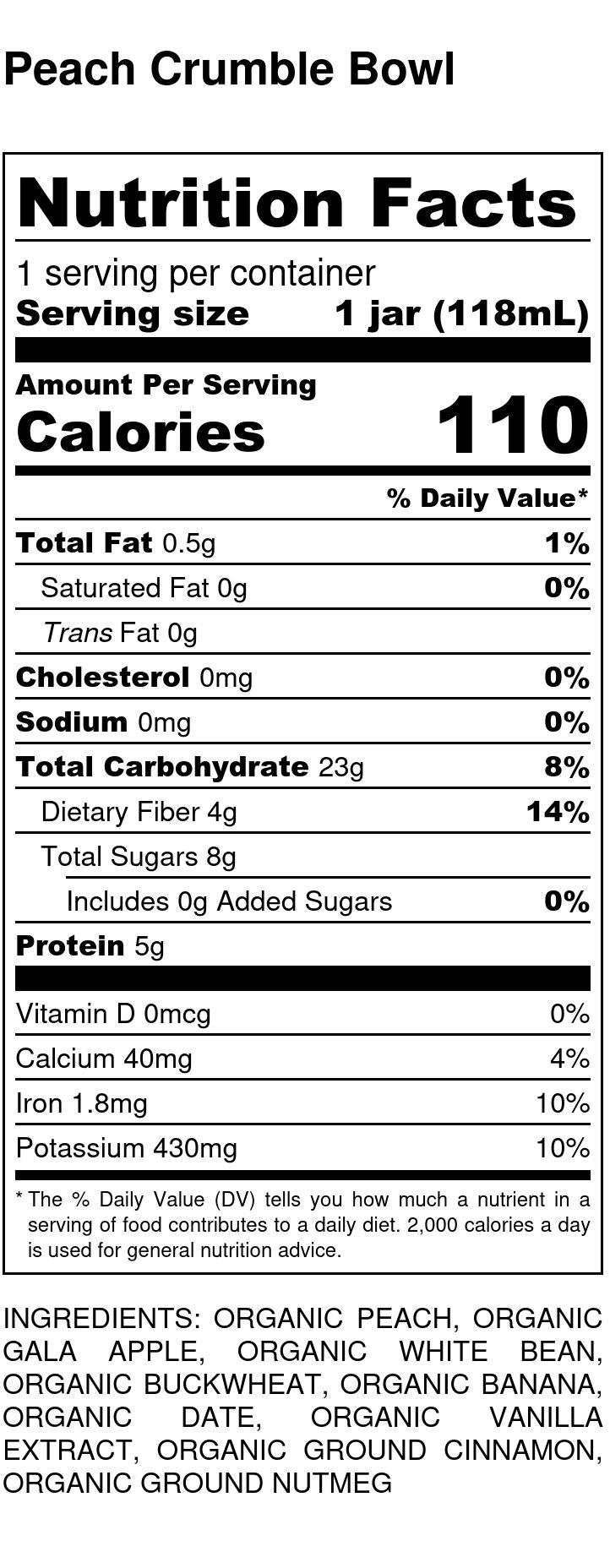 Yumi Peach Crumble Bowl nutrition facts