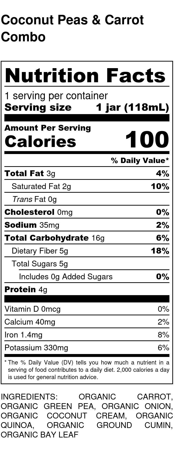 Yumi Coconut Pea Carrot Combo nutrition facts