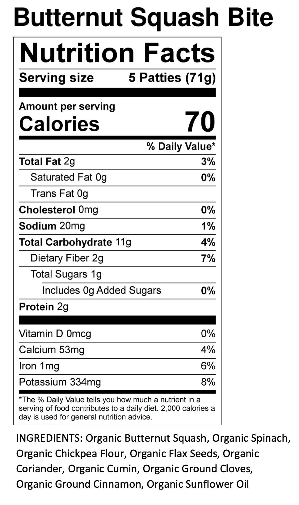 Yumi Butternut Squash Bite nutrition facts