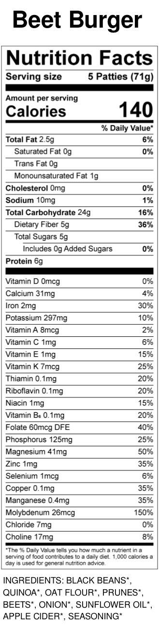 Yumi Beet Burger Bite nutrition facts