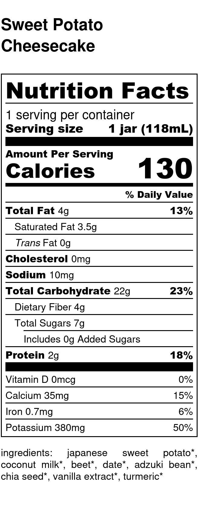 Yumi Sweet Potato Cheesecake nutrition facts