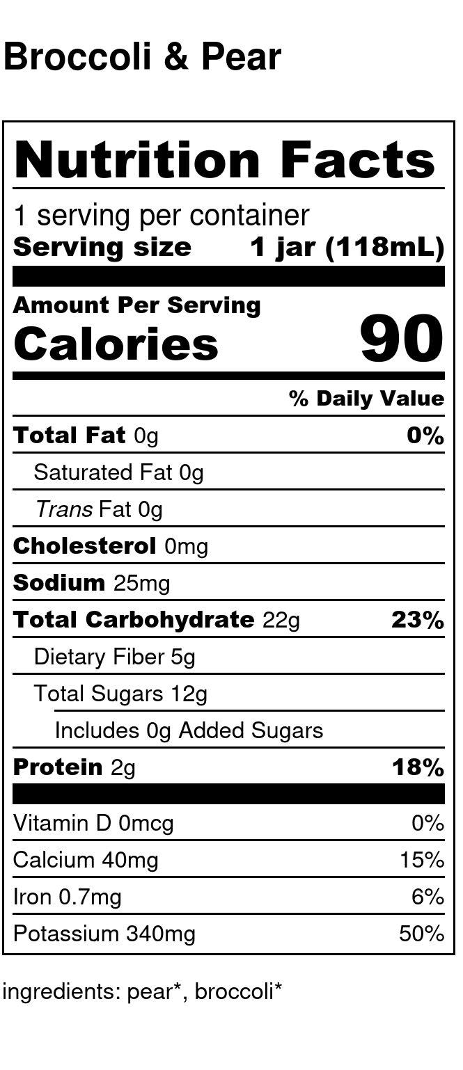 Yumi Broccoli & Pear nutrition facts