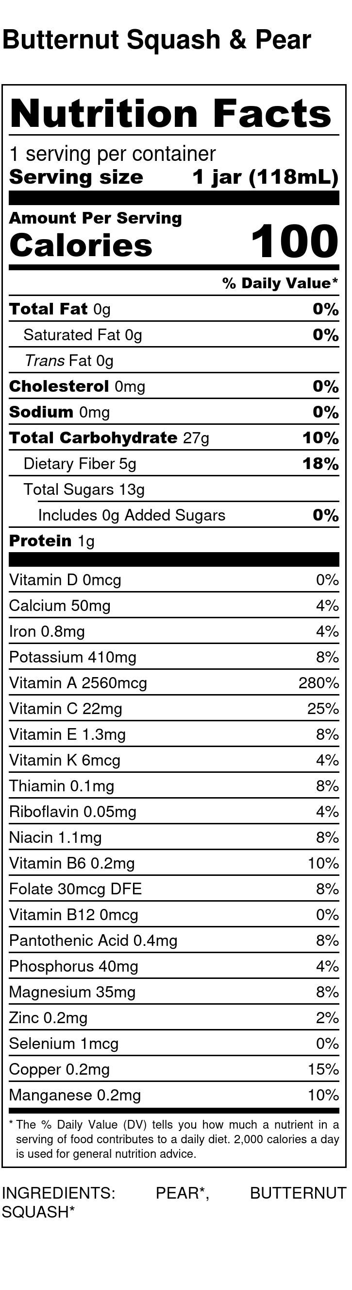 Yumi Butternut Squash & Pear nutrition facts