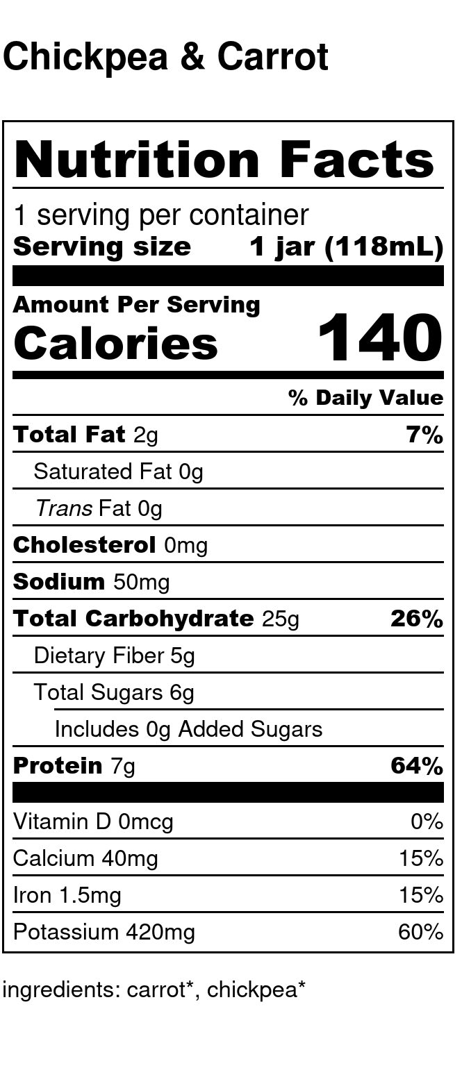 Yumi Chickpea & Carrot nutrition facts