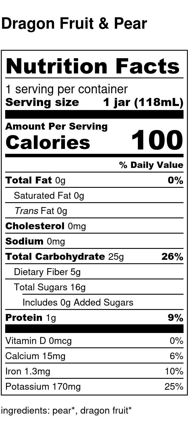 Yumi Dragon Fruit & Pear nutrition facts