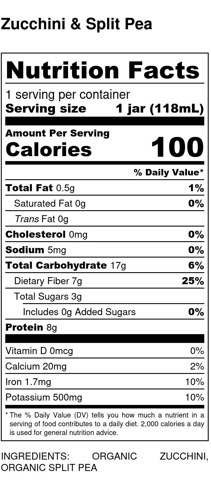 Yumi Zucchini & Split Pea nutrition facts