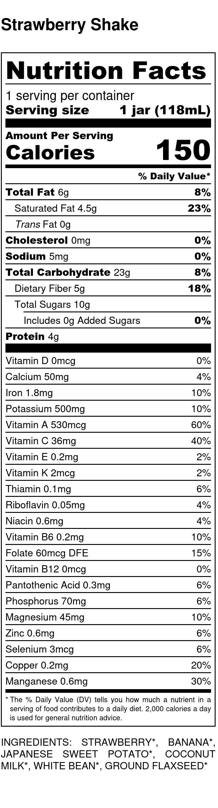Yumi Strawberry Shake nutrition facts
