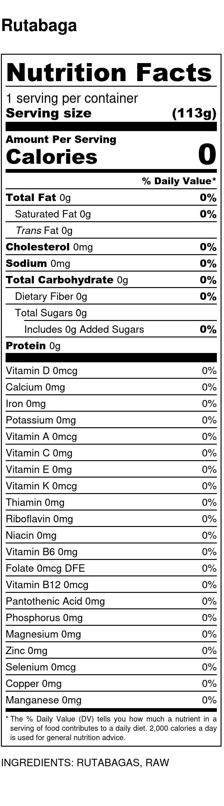 Yumi Rutabaga nutrition facts