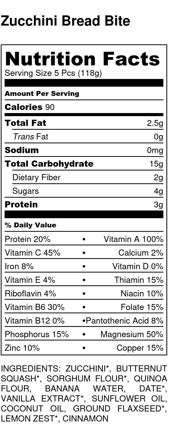 Yumi Zucchini Bread Bite nutrition facts