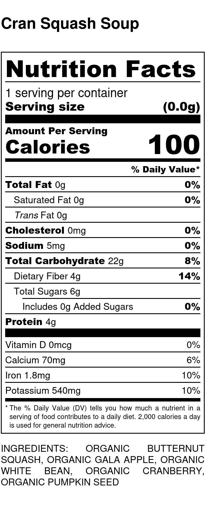 Yumi Cran Squash Bowl nutrition facts