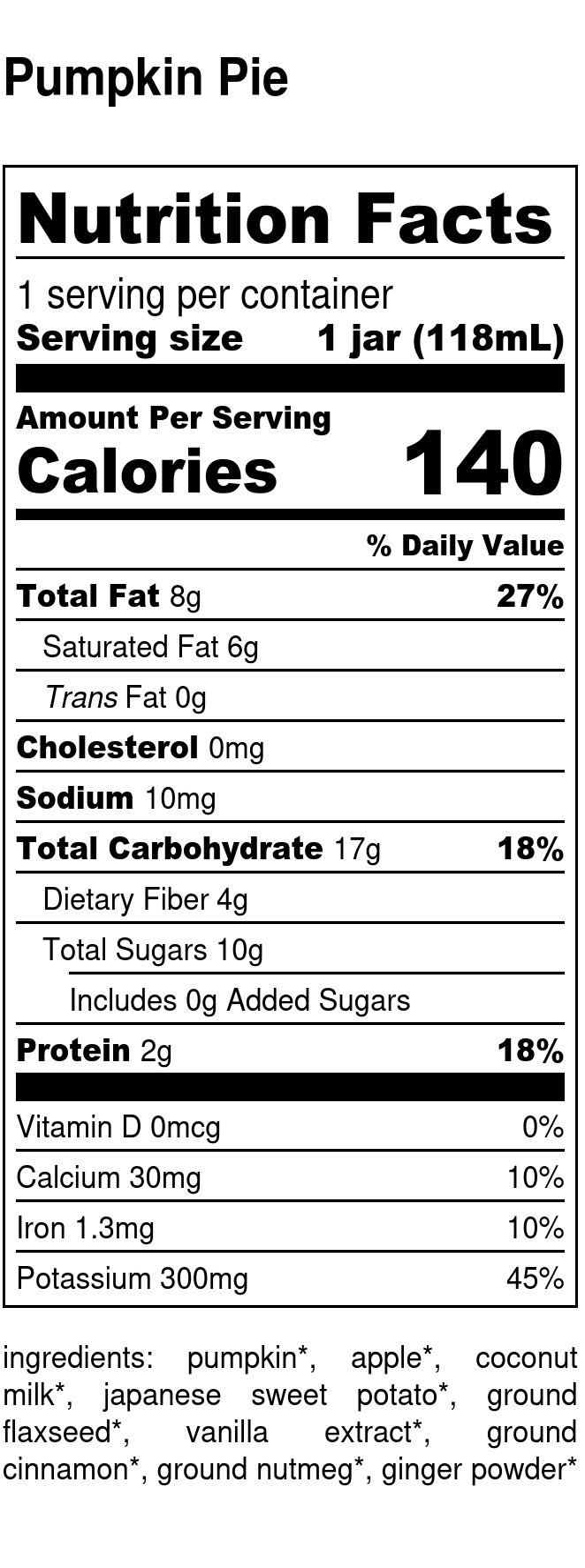 Yumi Pumpkin Pie nutrition facts