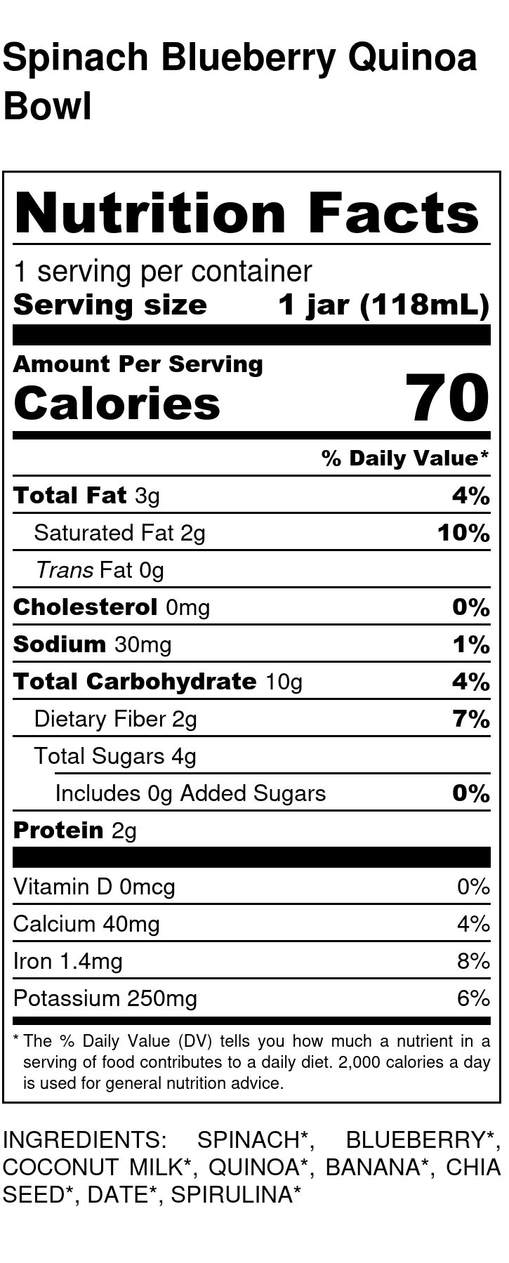 Yumi Spinach Blueberry Quinoa Bowl nutrition facts