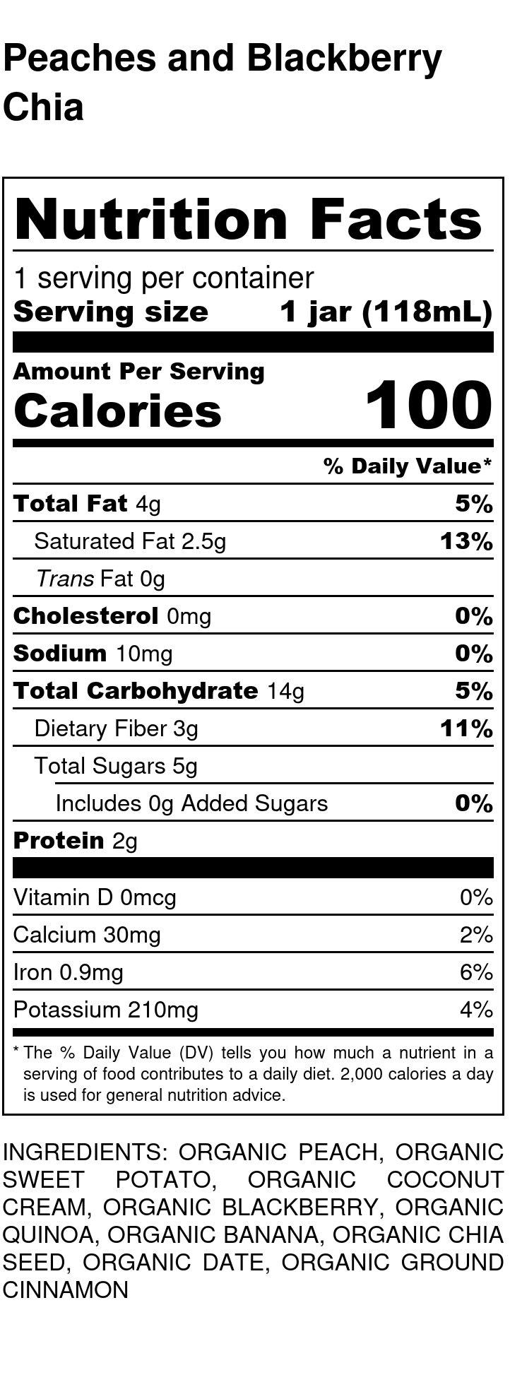 Yumi Peach Blackberry Chia Pudding nutrition facts