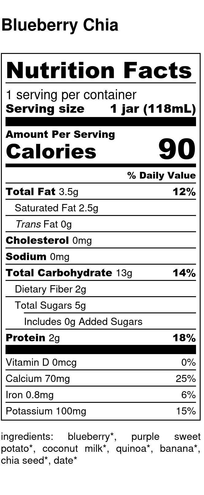 Yumi Blueberry Chia Pudding nutrition facts