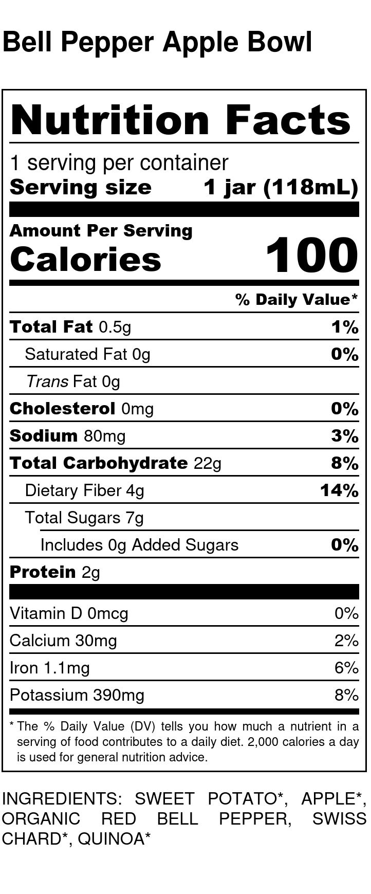 Yumi Bell Pepper Apple Bowl nutrition facts