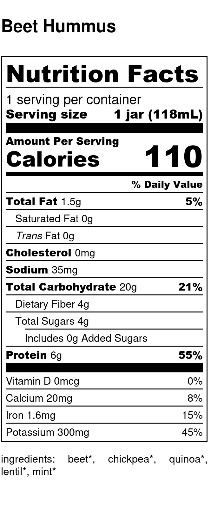 Yumi Beet Hummus nutrition facts