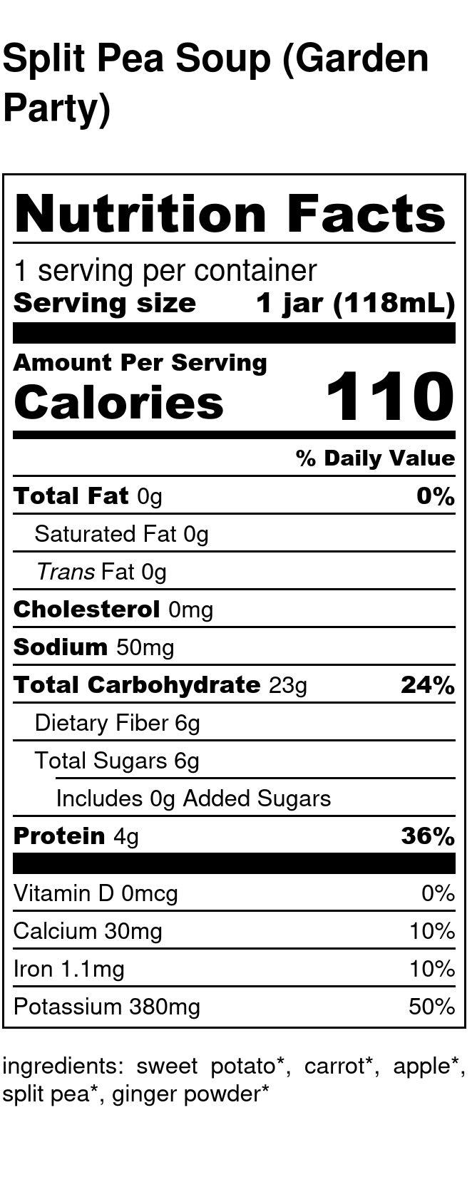 Yumi Split Pea Soup nutrition facts