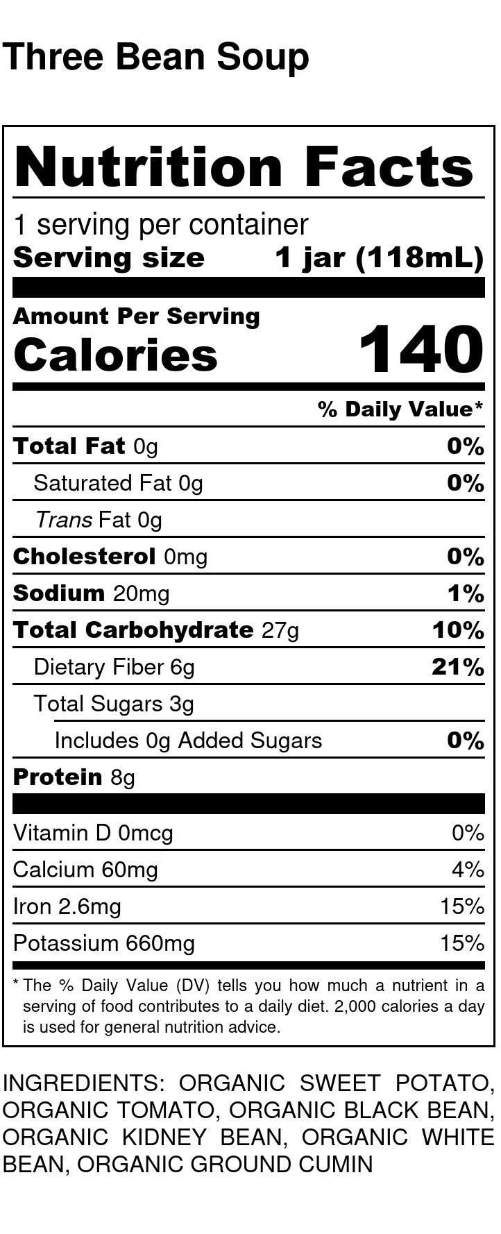 Yumi Three Bean Soup nutrition facts