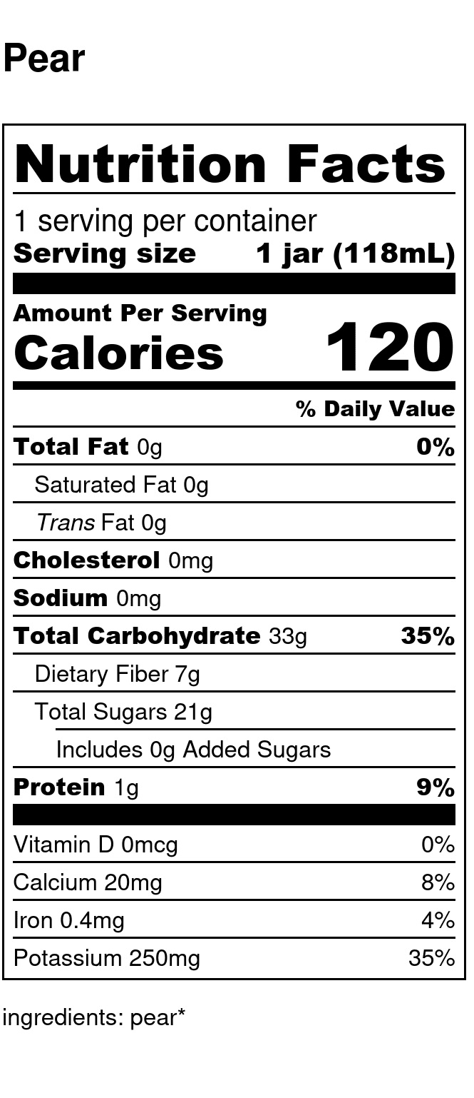 Yumi Pear nutrition facts