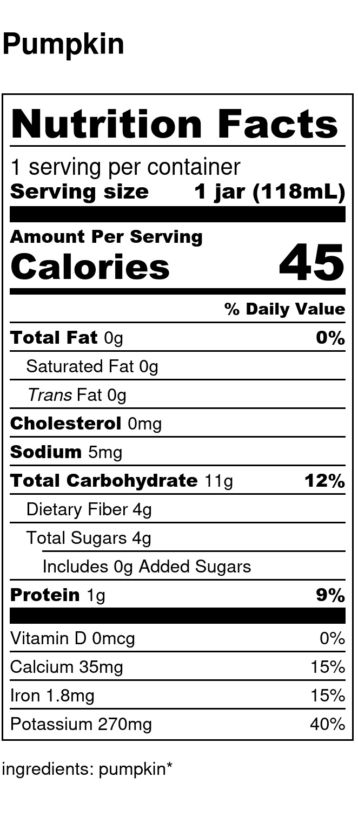 Yumi Pumpkin nutrition facts