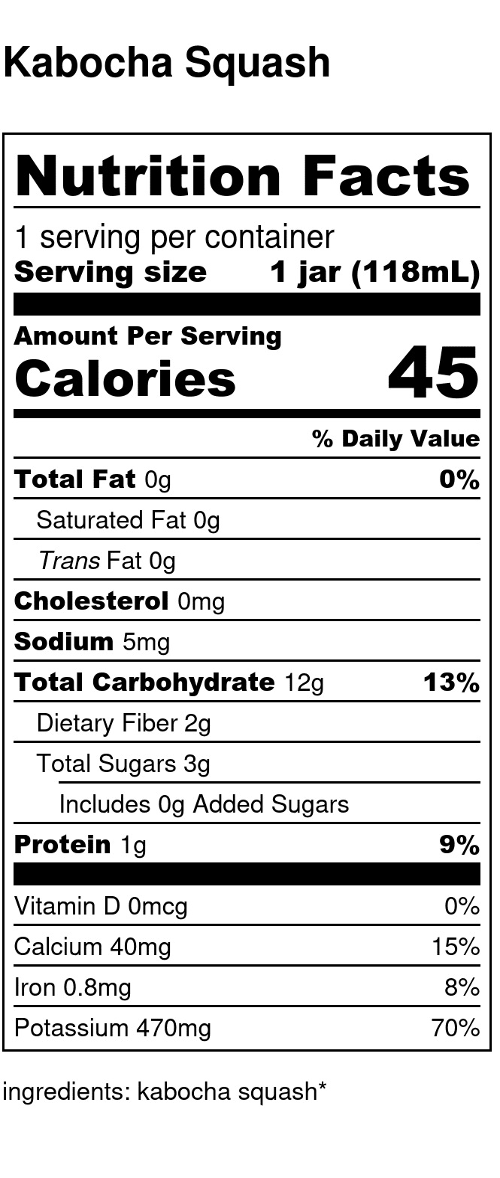 Yumi Kabocha Squash nutrition facts