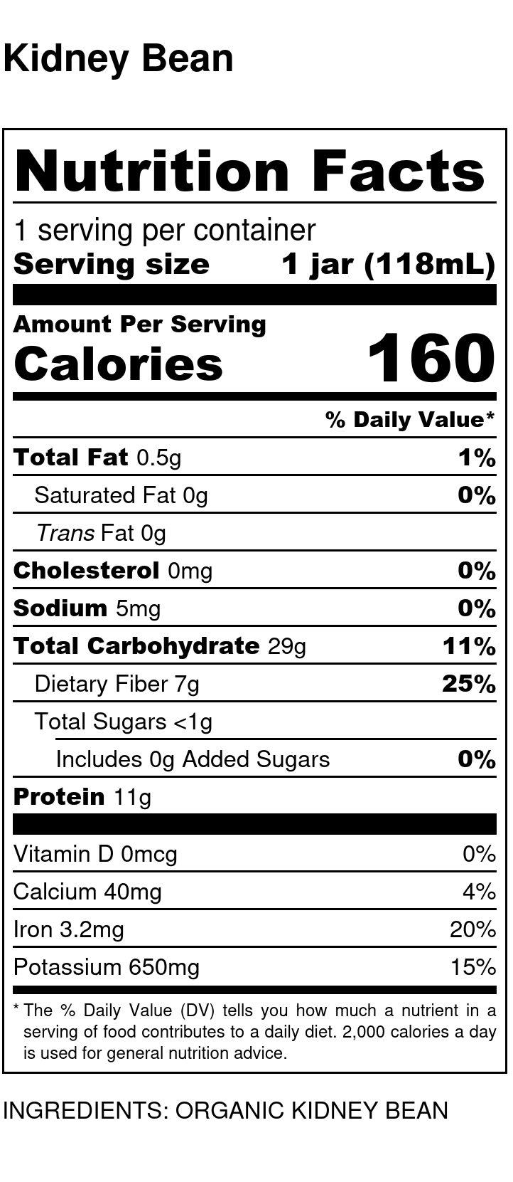 Yumi Kidney Bean nutrition facts