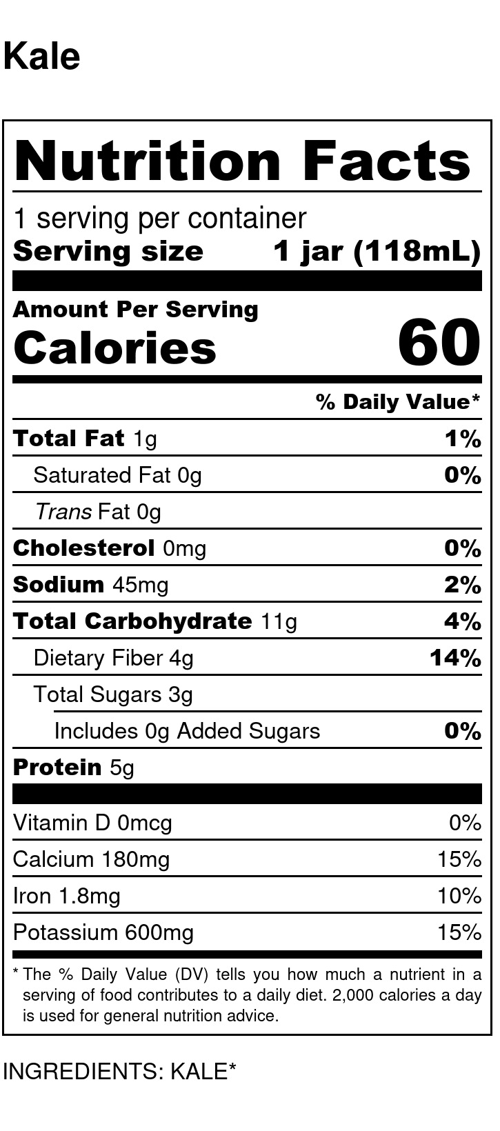 Yumi Kale nutrition facts