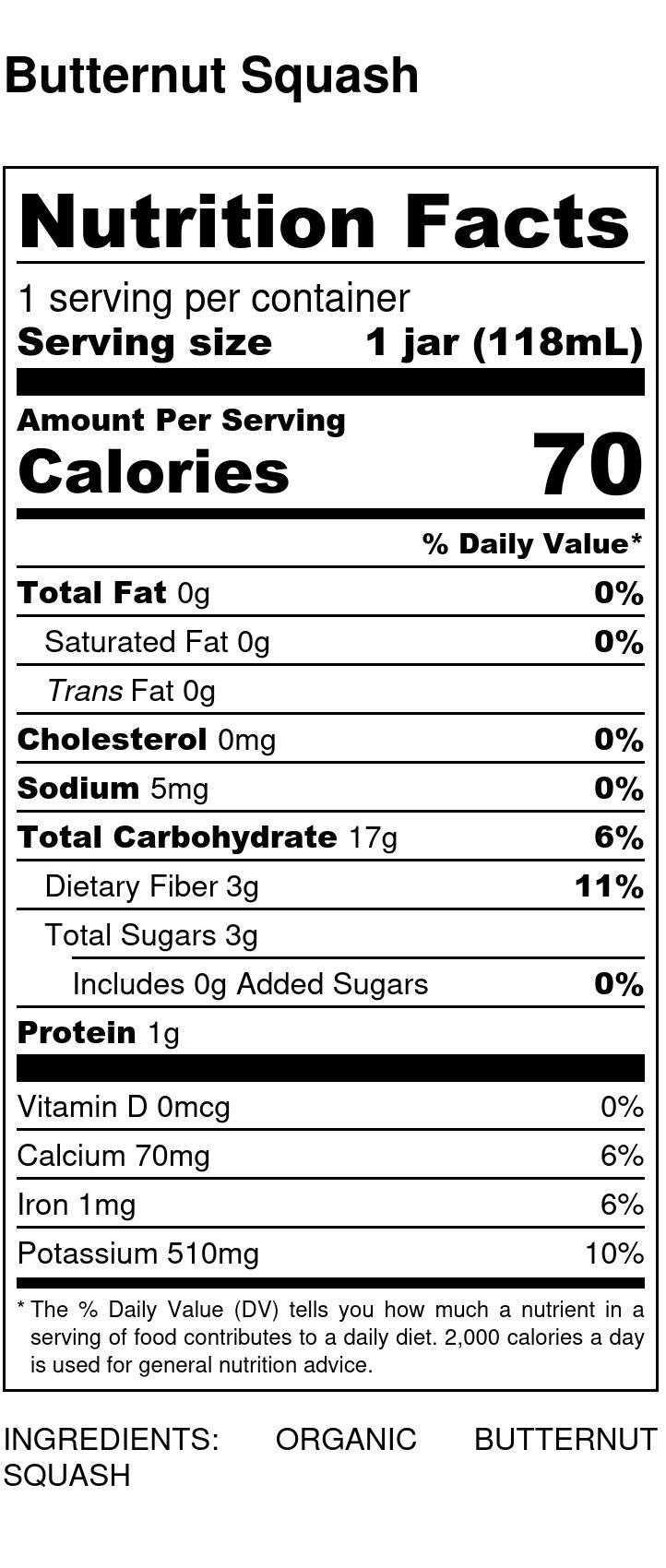 Yumi Butternut Squash nutrition facts