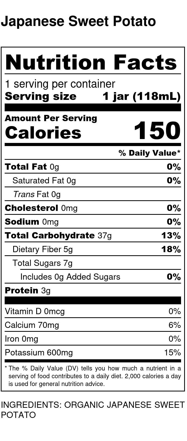 Yumi Japanese Sweet Potato nutrition facts