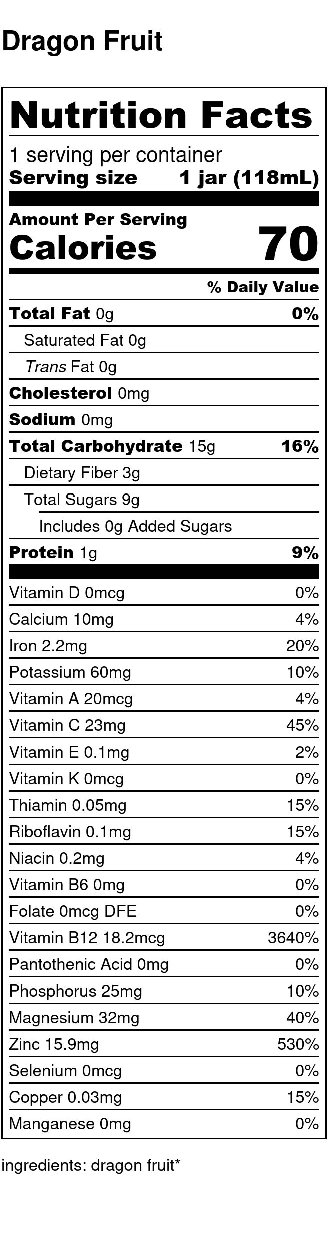 Yumi Dragonfruit nutrition facts
