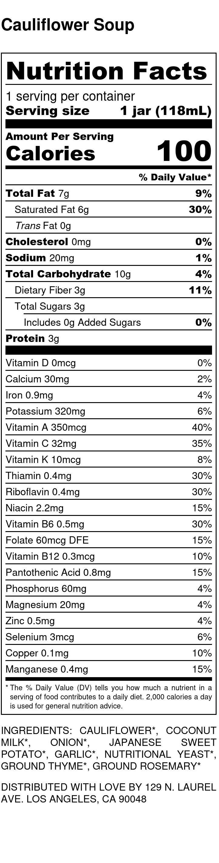 cauliflower-soup Nutrition