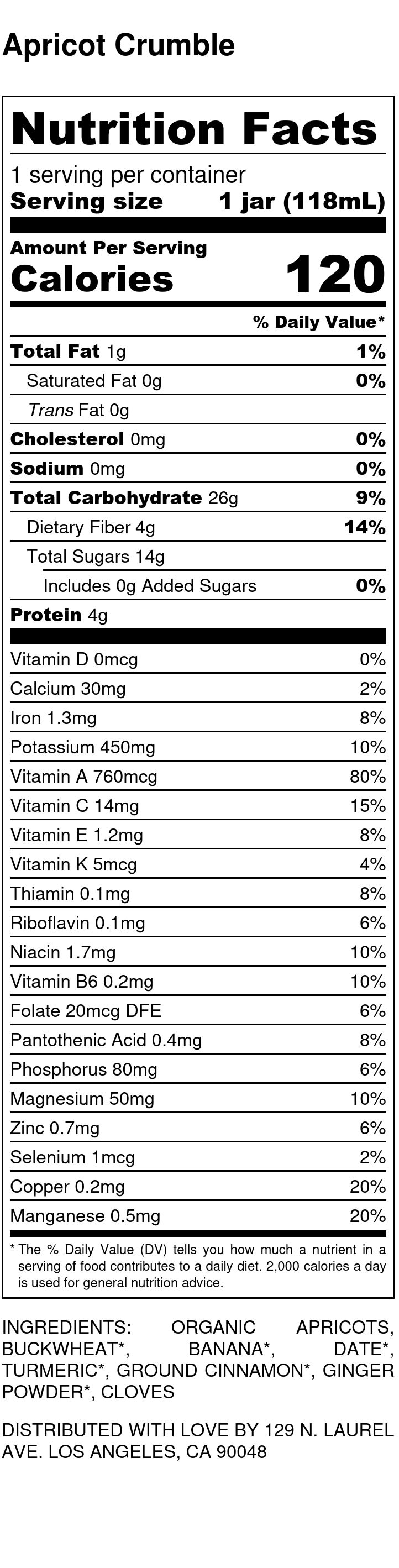 Yumi Apricot Crumble nutrition facts