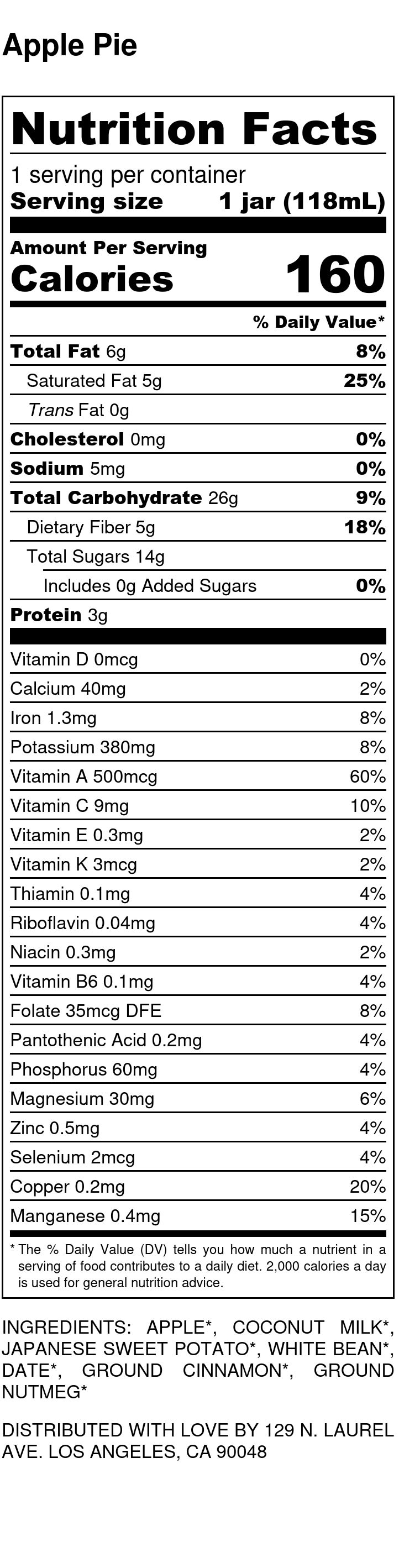 Yumi Apple Pie nutrition facts