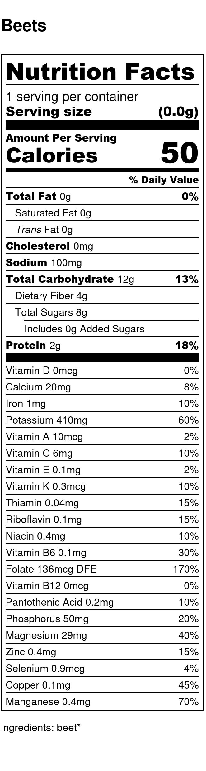 Yumi Beet nutrition facts
