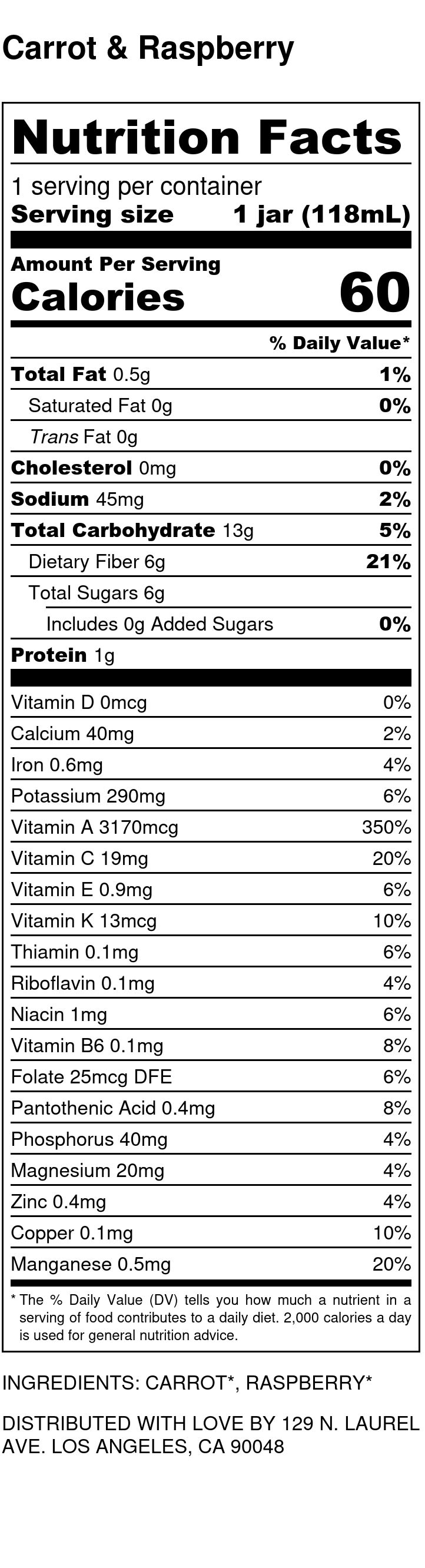 Yumi Carrot & Raspberry nutrition facts