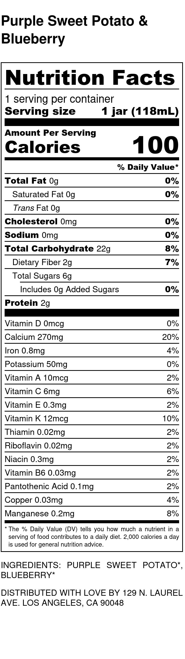 Yumi Purple Sweet Potato & Blueberry nutrition facts