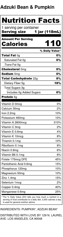 Yumi Adzuki Bean & Pumpkin nutrition facts