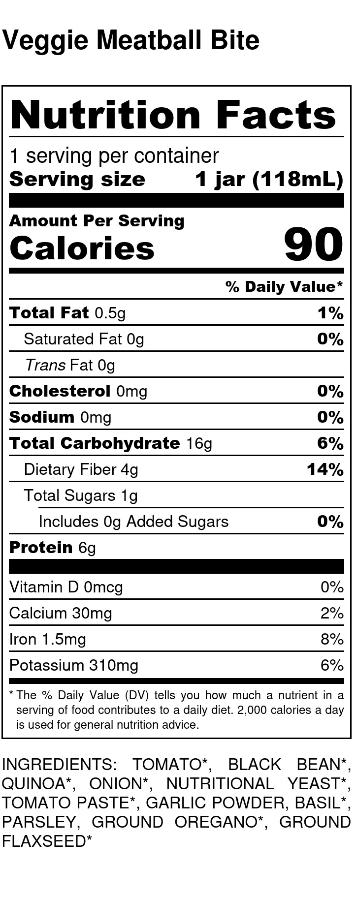 Yumi Veggie Meatball Bite nutrition facts