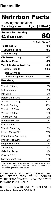 Yumi Ratatouille nutrition facts