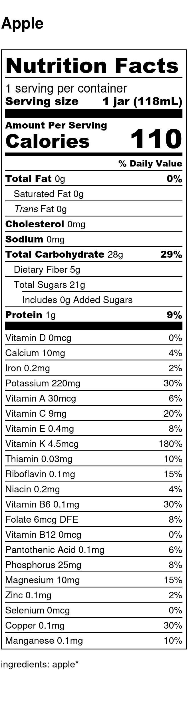 Yumi Apple nutrition facts
