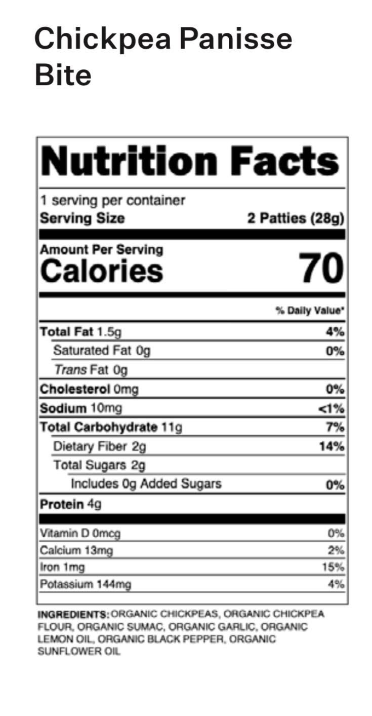 Yumi Chickpea Panisse Bite nutrition facts