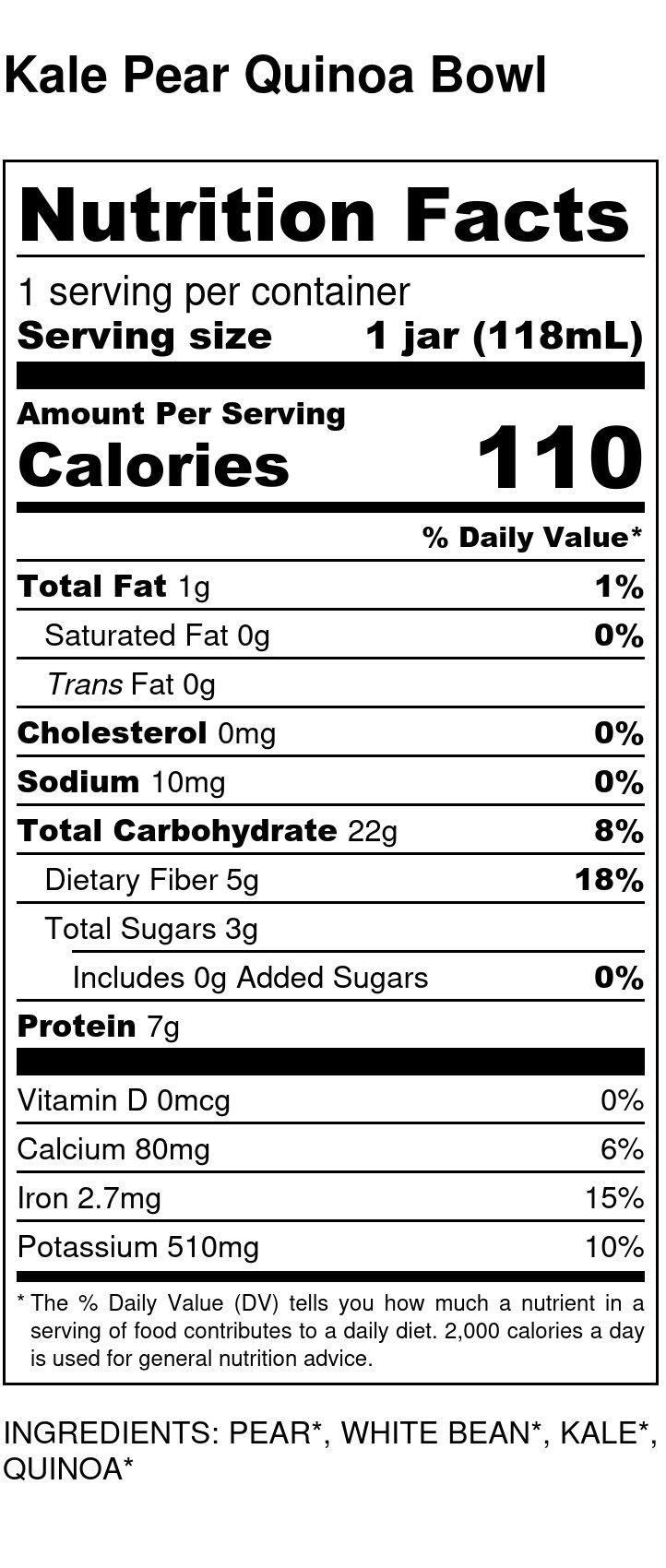 Yumi Kale Pear Quinoa Bowl nutrition facts