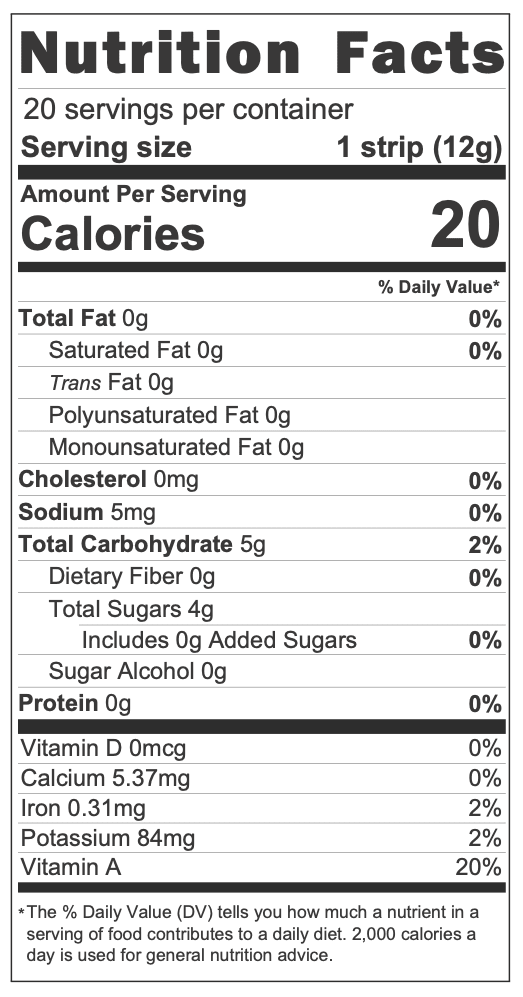 Yumi Mixed Berry Fruit Leathers nutrition facts